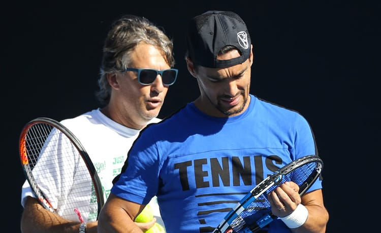 Fabio Fognini e Franco Davin - Foto Bruno Silverii