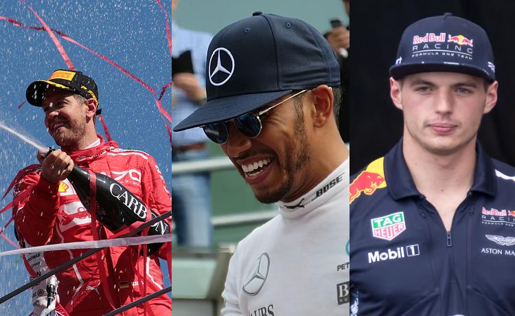Sebastian Vettel, Lewis Hamilton e Max Verstappen