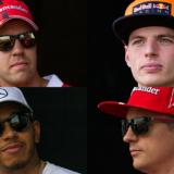 Vettel, Verstappen, Hamilton e Raikkonen