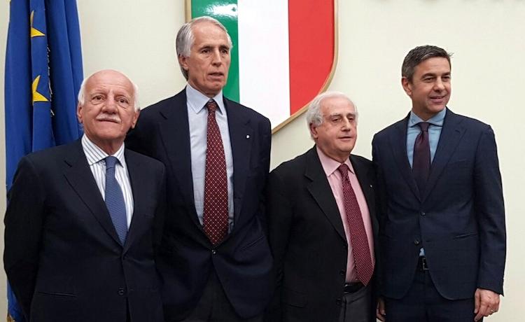 Angelo Clarizia, Giovanni Malagò, Roberto Fabbricini e Alessandro Costacurta