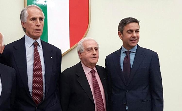 Giovanni Malagò, Roberto Fabbricini e Alessandro Costacurta