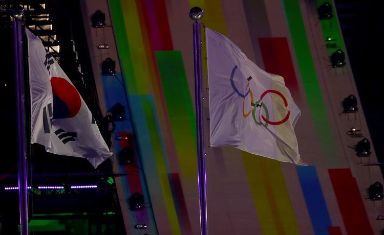 Olimpiadi PyeongChang bandiere Corea