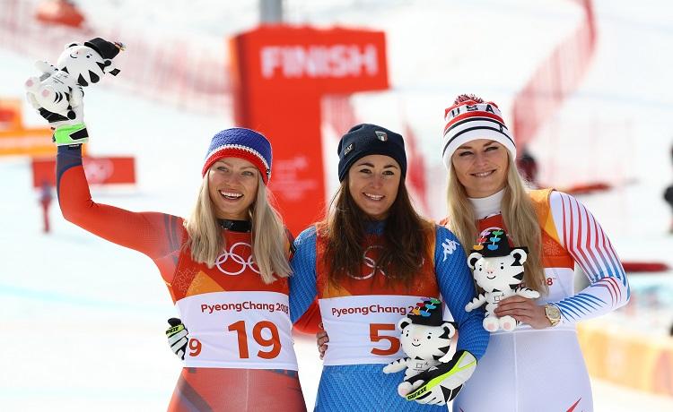 Ragnhild Mowinckel, Sofia Goggia e Lindsey Vonn - Photo: Pentaphoto/Marco Trovati.