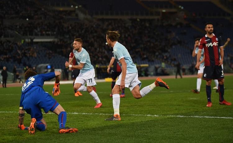 Lucas Leiva, Ciro Immobile e Antonio Mirante - Lazio-Bologna