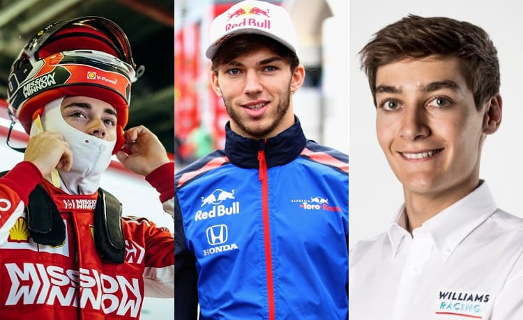 Charles Leclerc, Pierre Gasly e George Russell