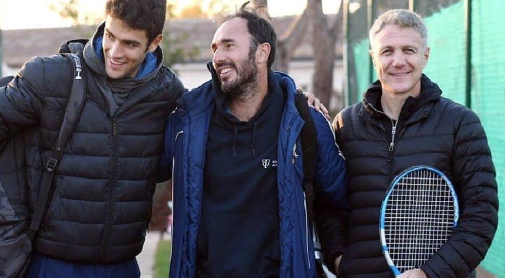 Matteo Berrettini, Vincenzo Santopadre e Umberto Rianna