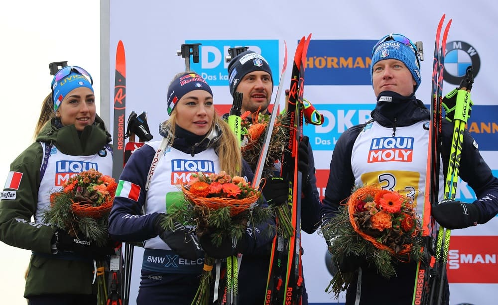 Lisa Vittozzi, Dorothea Wierer, Dominik Windisch, Lukas Hofer - Foto Marco Trovati/Pentaphoto
