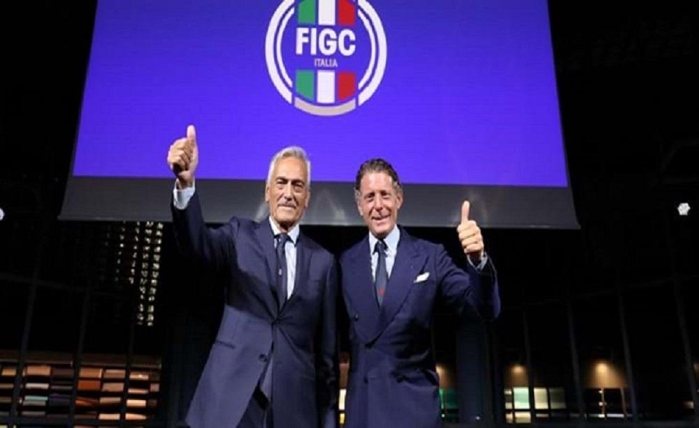 Lapo Elkann e Gabriele Gravina nuovo logo Figc