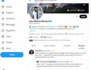"""""""Sarri non è un grande allenatore"""". Caos Luis Alberto, mette like su Twitter"""